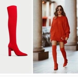 ZARA RED ELASTIC SOCK OVER THE KNEE BOOTS